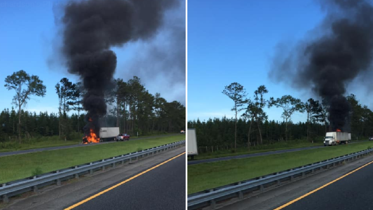 Vehicle fire blocking lane on I-10 EB in Gadsden County