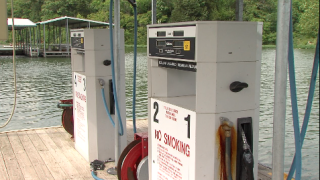 Fuel pumps at Lake Jacomo
