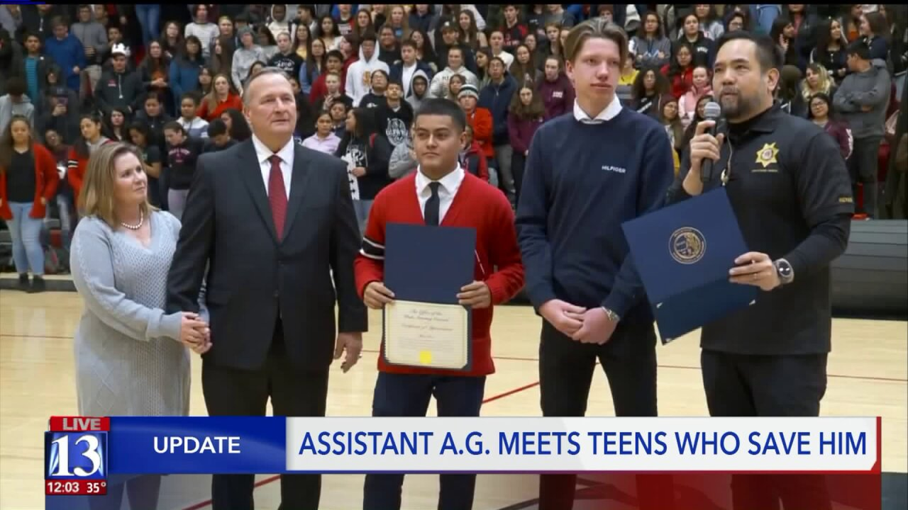 Assistant Utah AG meets two West High students who saved his life