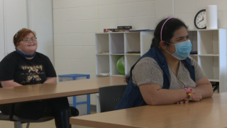 Bethany Allcox and Rose Baez Rios in the Let's Work! classroom
