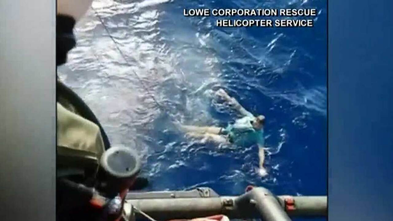 A man using his jeans as a floatation device was rescued after going overboard in the New Zealand sea.