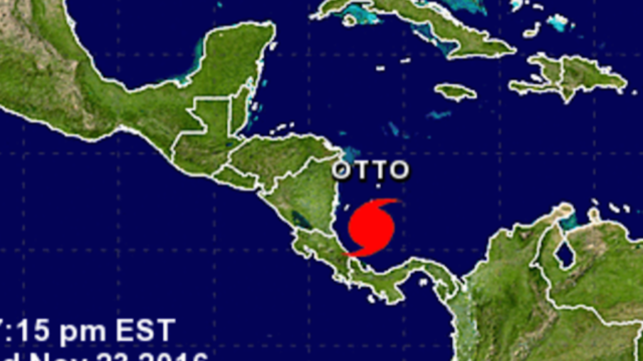 Otto strengthens into hurricane with Nicaragua in sight