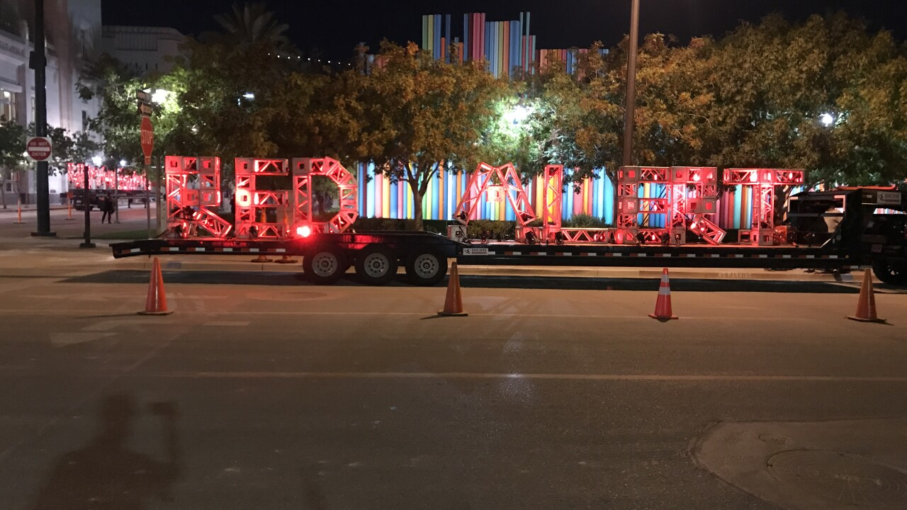 Some of the best known land marks in Las Vegas turned red Tuesday in a nationwide show of solidarity for the struggling live entertainment industry and also to urge congress to pass more help for workers.