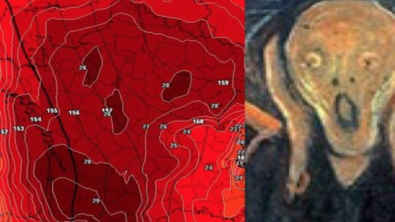 The Heat Wave In Europe Is So Bad That The Weather Map Of France Looks Like A Screaming Skull