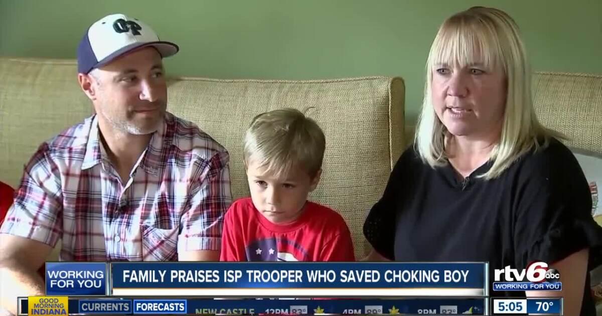 Family praises Indiana trooper who saved choking boy