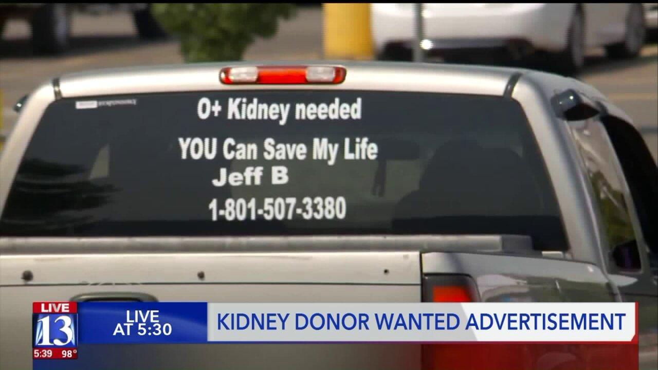 Man in need of kidney transplant seeks help by posting on back of histruck
