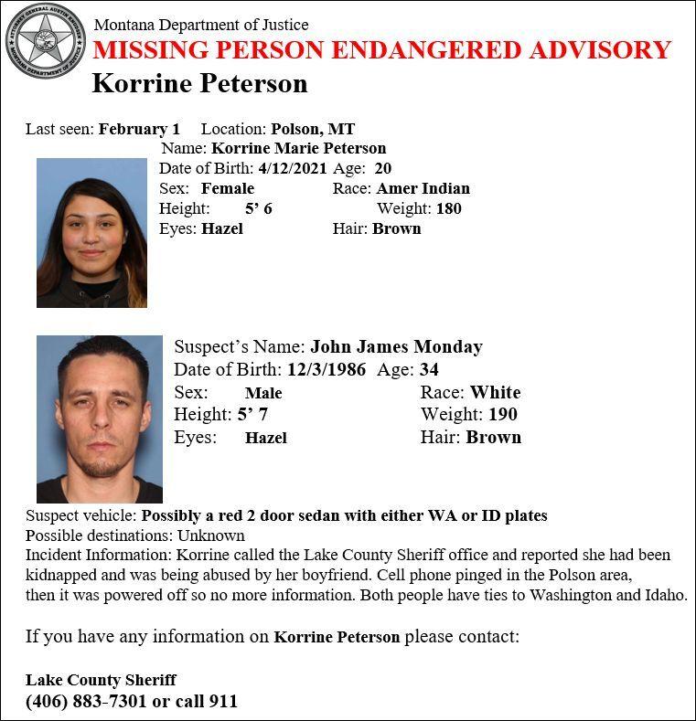 Missing-Endangered Person Advisory (MEPA) for Korrine Marie Peterson