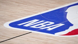 NBA Camps Open Basketball logo court
