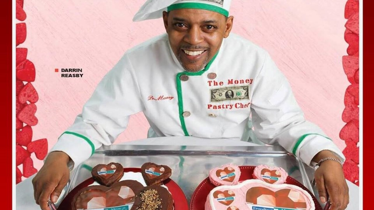 Darrin Reasby with heart-shaped cakes