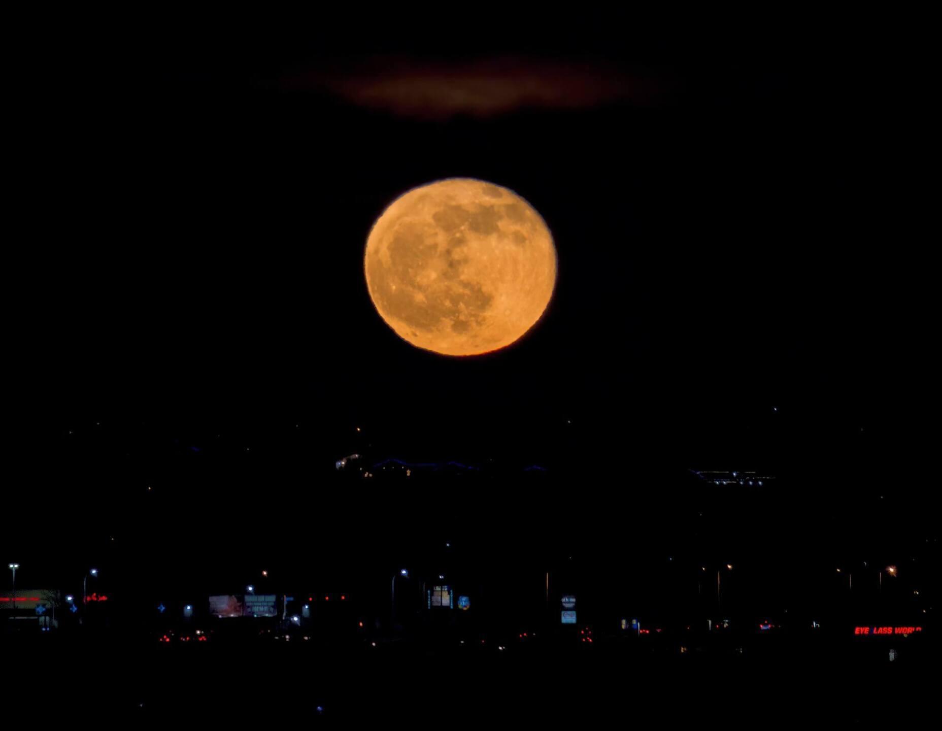 Cold Moon over Colorado Springs
