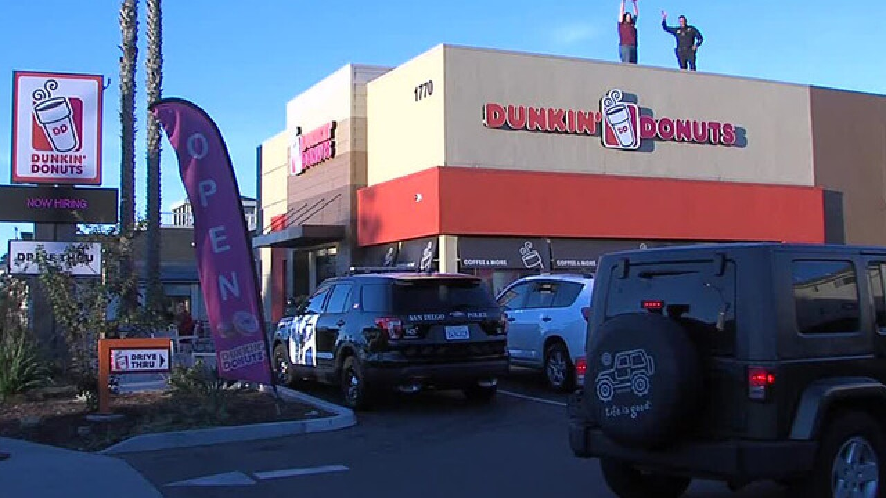 Positively San Diego: Officers around San Diego take part in 'Cop on a Rooftop' at Dunkin' stores