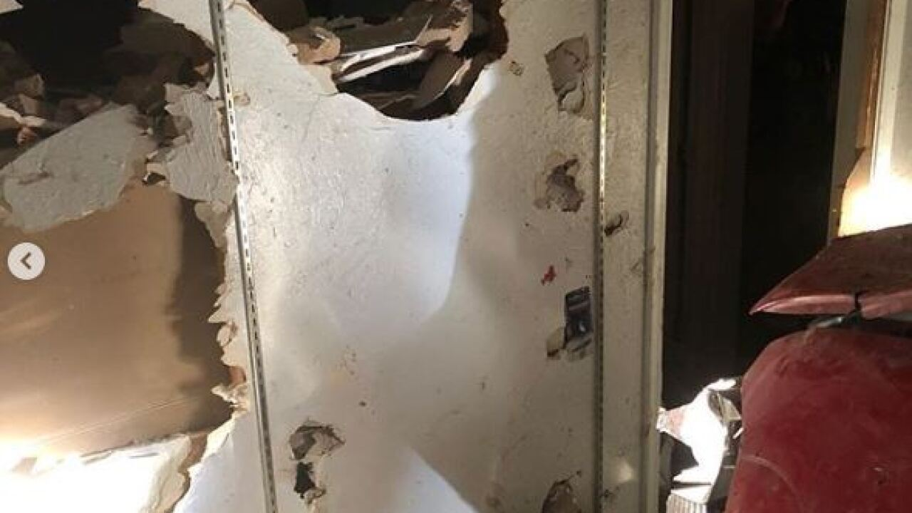 Truck goes into wall New Years Day via TFD 3.JPG