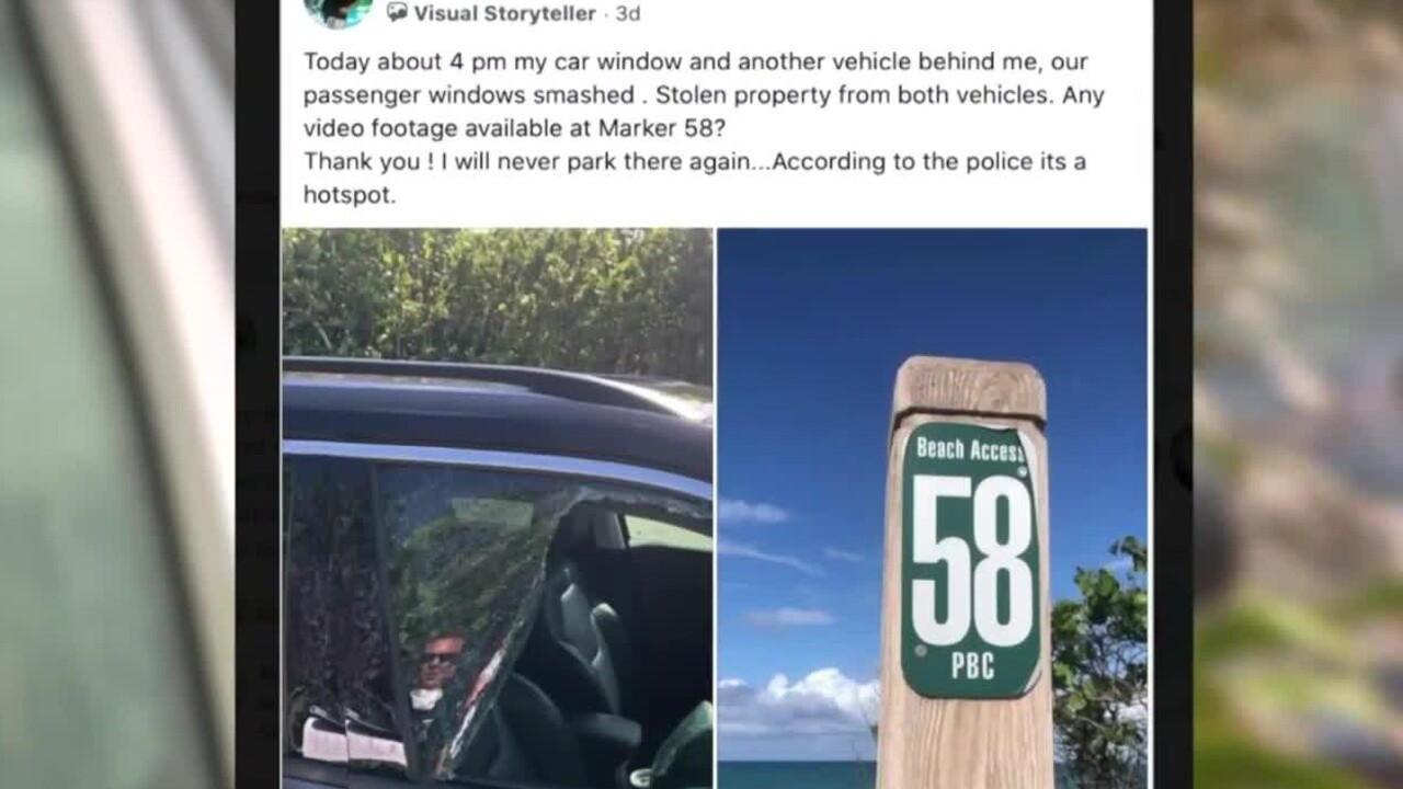 Kim Casey said her vehicle was broken into while parked at the beach in Jupiter.