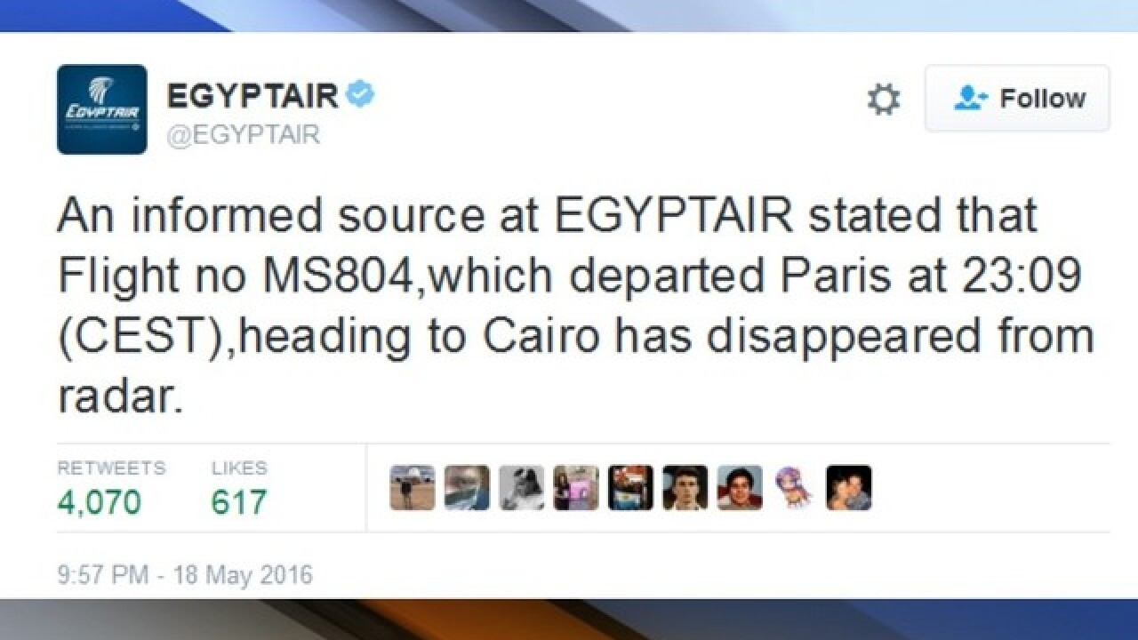 EgyptAir flight has crashed after leaving Paris