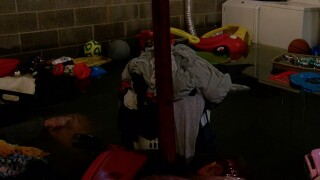 Flooded basement in Elaine Pierce's Barberton apartment.