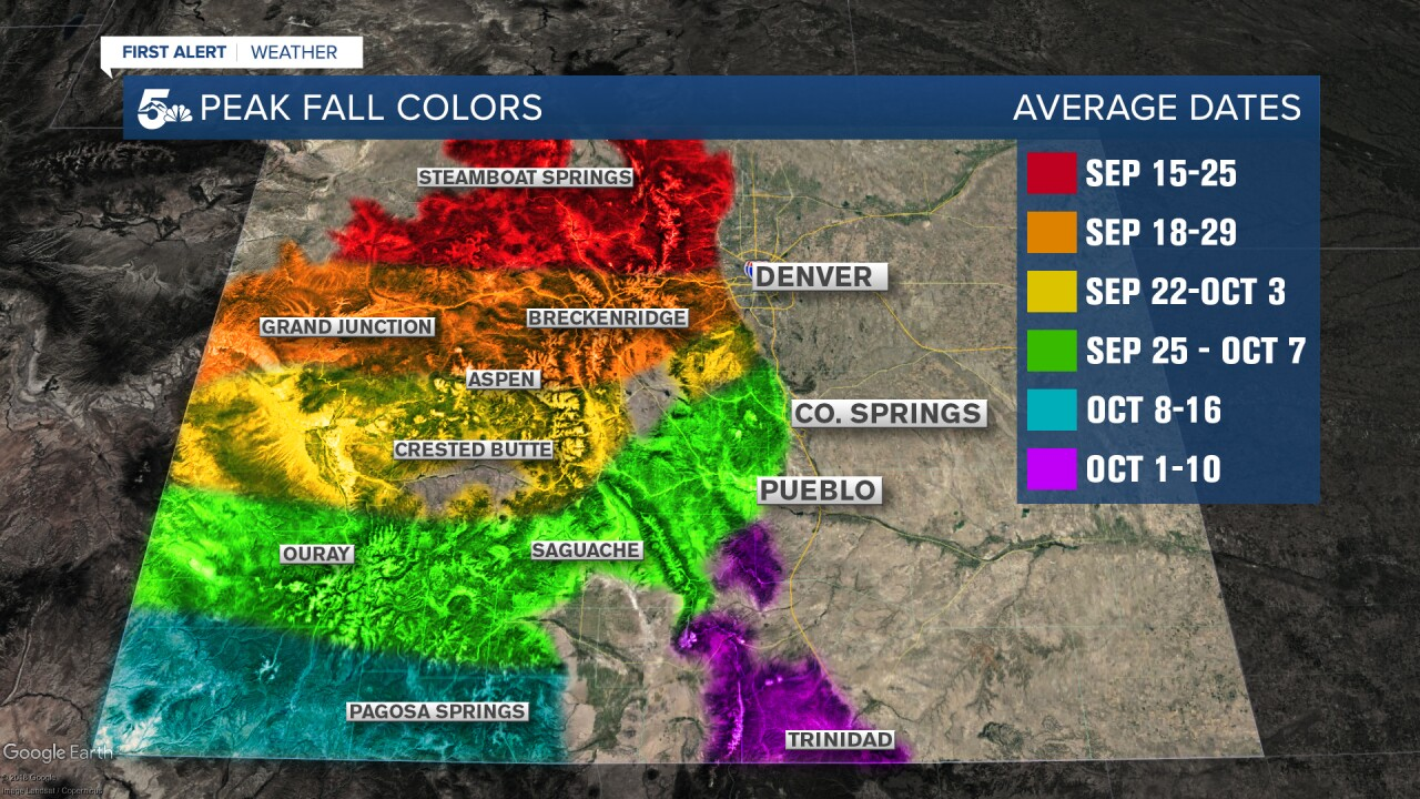 Peak Fall Color Dates for Colorado