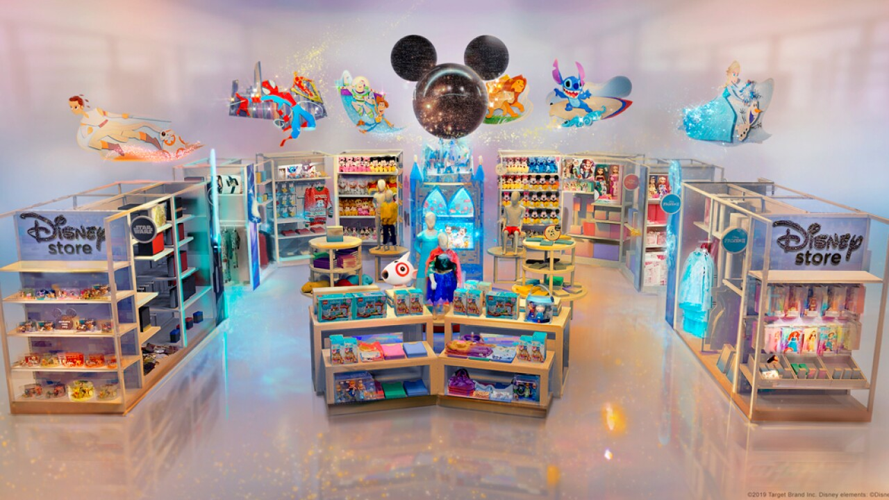 This image provided by Target Brand Inc and Disney shows an artist rendering of a store. Target is hoping to bring the magic of Disney by creating permanent Disney shops at a cluster of its own stores starting this fall. As part of its collaboration with the Walt Disney Co., the Minneapolis-based discounter says it will open 25 Disney-branded stores starting Oct. 4, with 40 additional locations opening by October 2020.