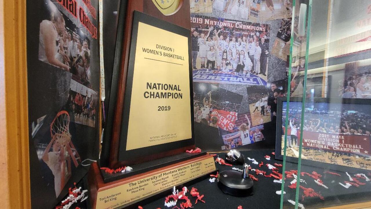 Montana Western women 2019 national championship trophy
