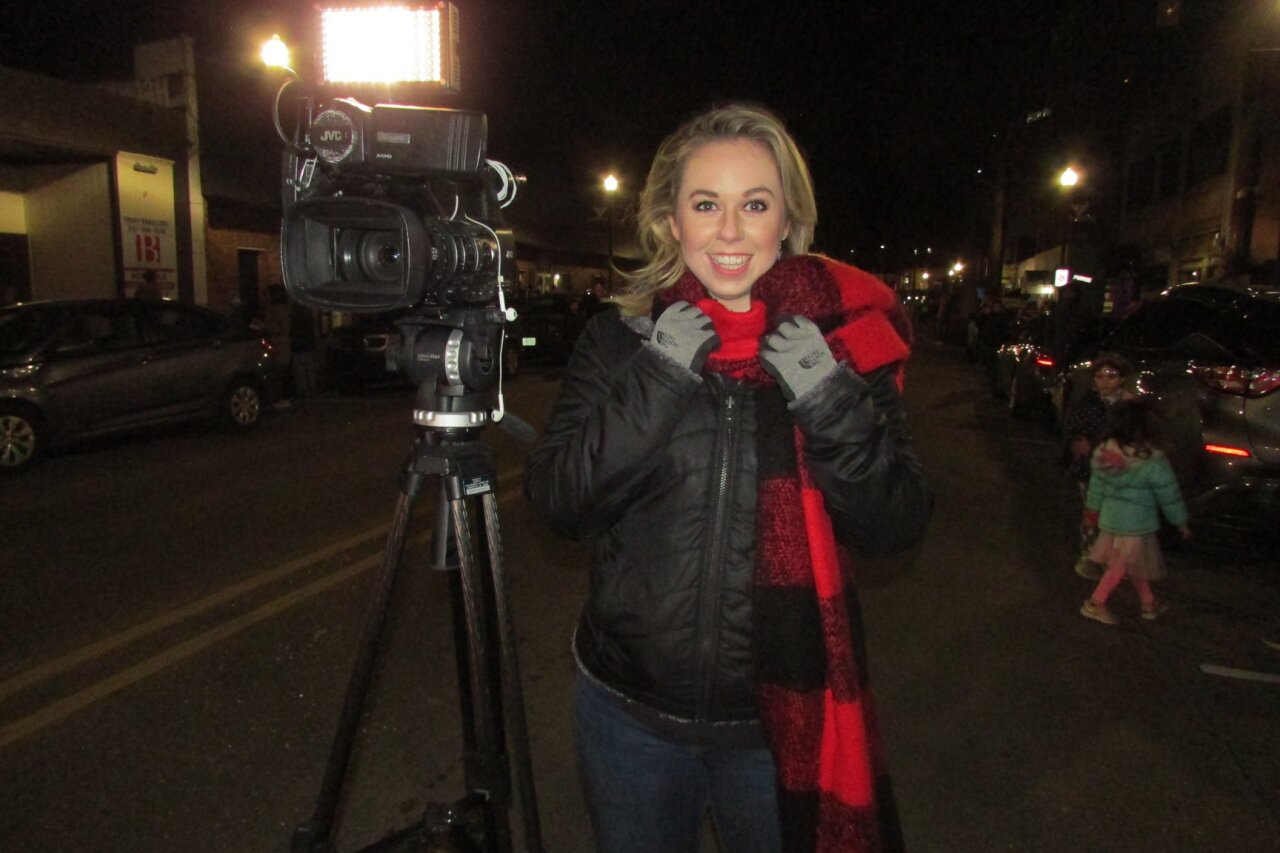 Reporter Katie Easter trying to stay warm!