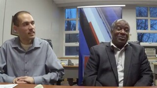 Mike Dyer talks to Ken Griffey Sr. at the Roger Bacon Sports Stag on January 17, 2019