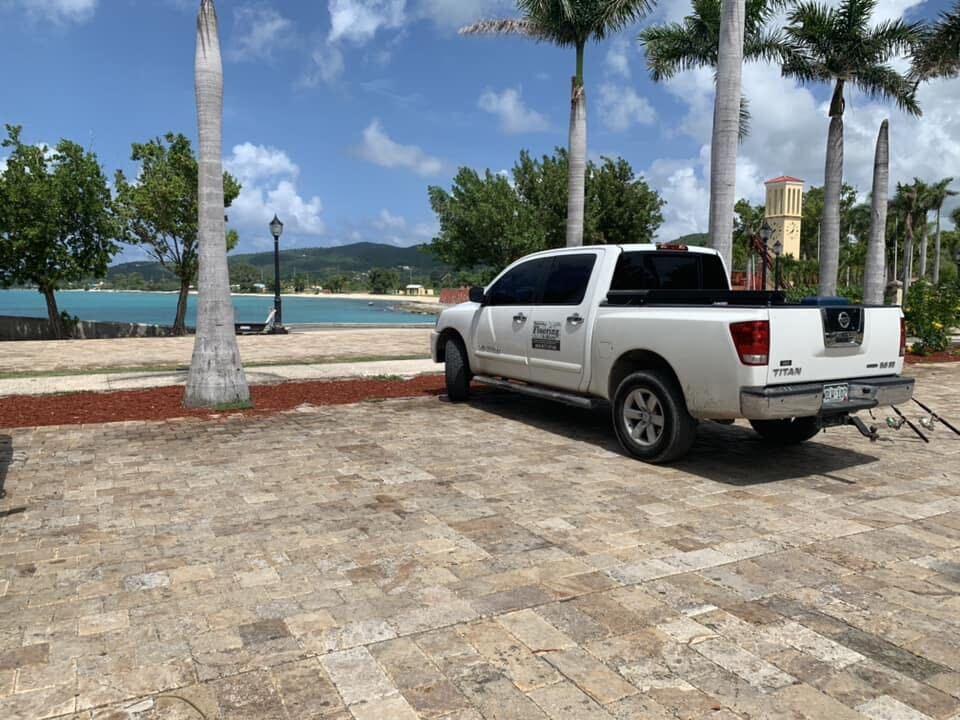 truck stranded on island