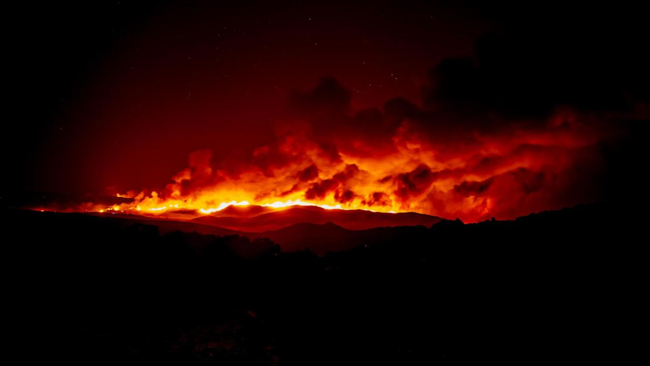 Valley Fire as seen at night