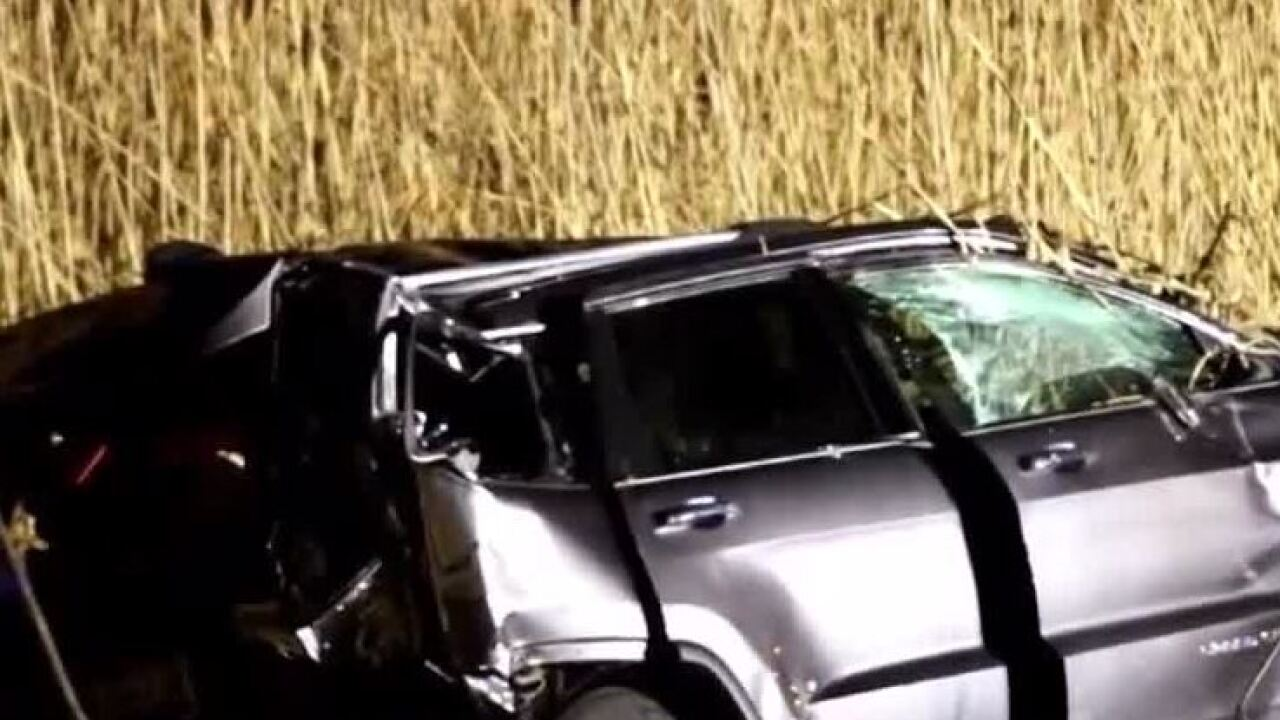 truck pulled from water with shattered window after crash