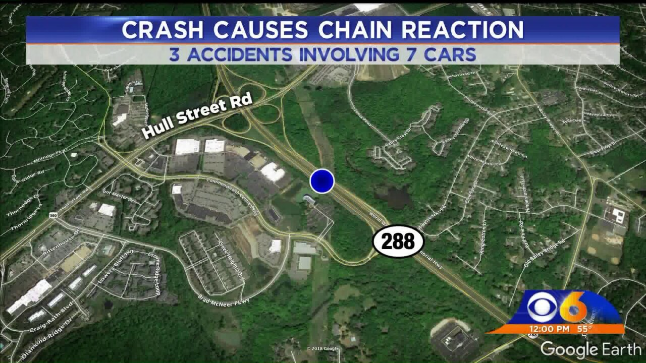 7 vehicles crashed after deer ran onto Route288
