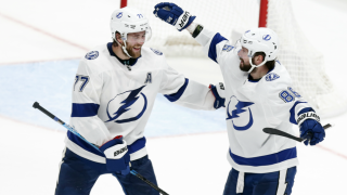 Nikita Kucherov celebrates with Victor Hedman