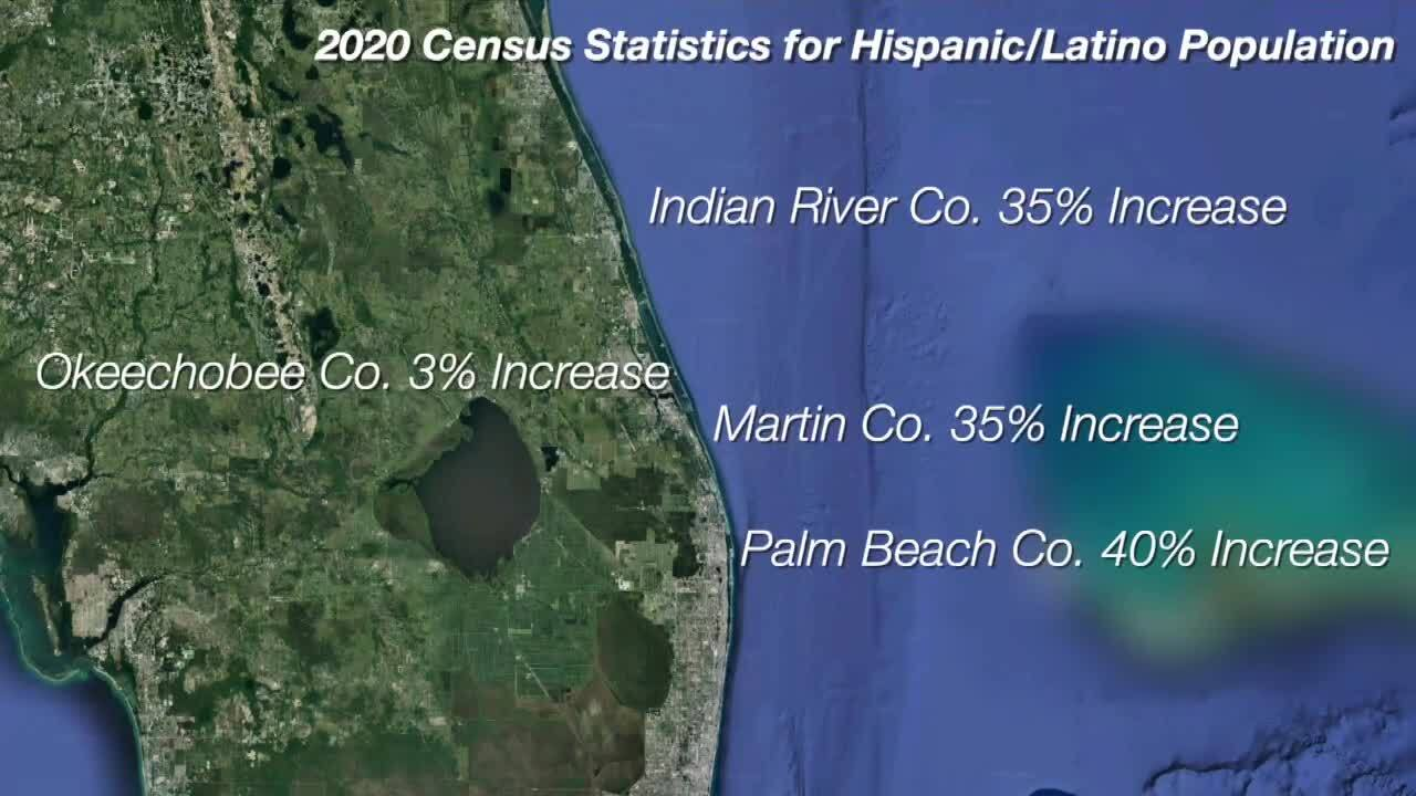 2020 Census Statistics for Hispanic/Latino Population in Palm Beach, Martin, Indian River and Okeechobee counties