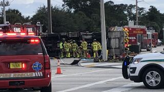 A Palm Beach County Fire Rescue engine was involved in a crash with a pickup truck Saturday afternoon.