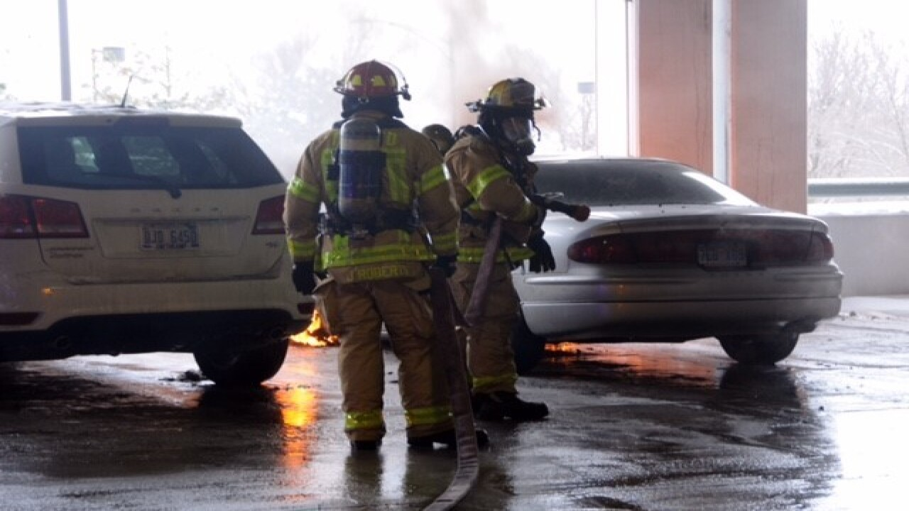 Fire crews battle two car fires at Somerset