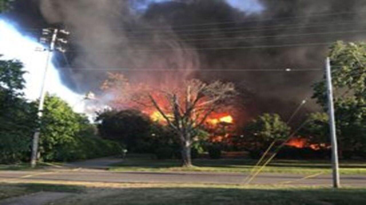 Massive fire burning in Lockport
