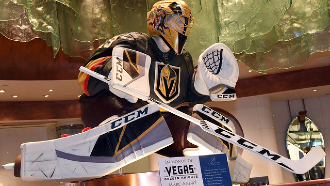 Las Vegas hotel creates giant chocolate statue of Golden Knights goalie Marc-Andre Fleury