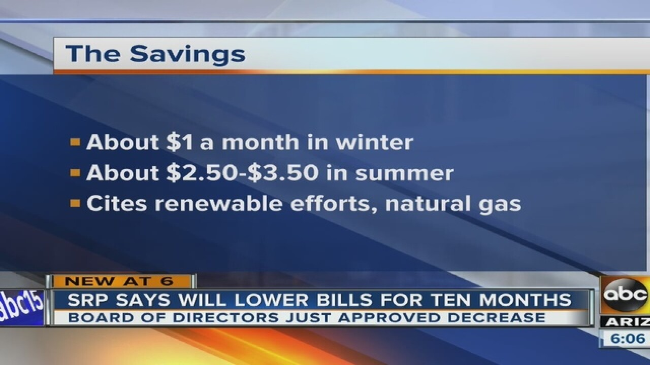 SRP bills will decrease, but not by much