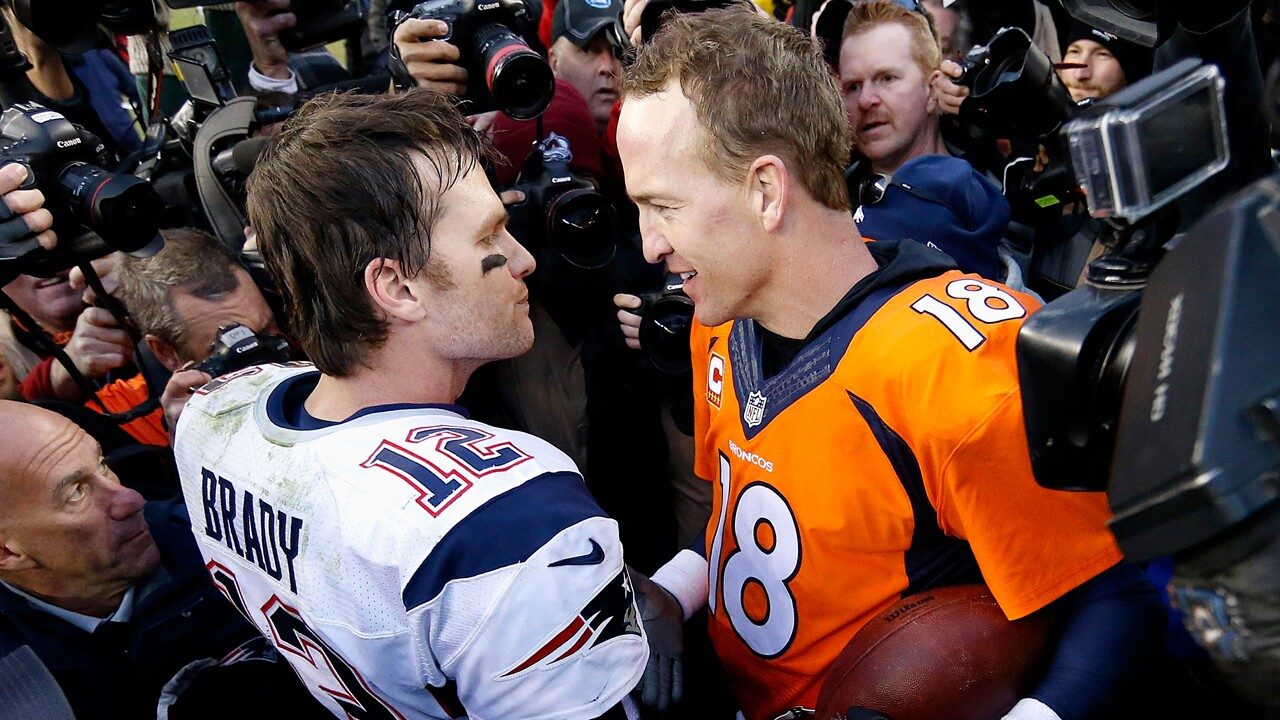 "In this Jan. 24, 2016, file photo, New England Patriots quarterback Tom Brady, left, and Denver Broncos quarterback Peyton Manning speak to one another following the AFC Championship game in Denver. The next match involving Tiger Woods and Phil Mickelson involves a $10 million donation for COVID-19 relief efforts, along with plenty of bragging rights in a star-powered foursome May 24 at Medalist Golf Club. Turner Sports announced more details Thursday, May 7, 2020, for ""The Match: Champions for Charity,"" a televised match between Woods and Peyton Manning against Mickelson and Tom Brady."