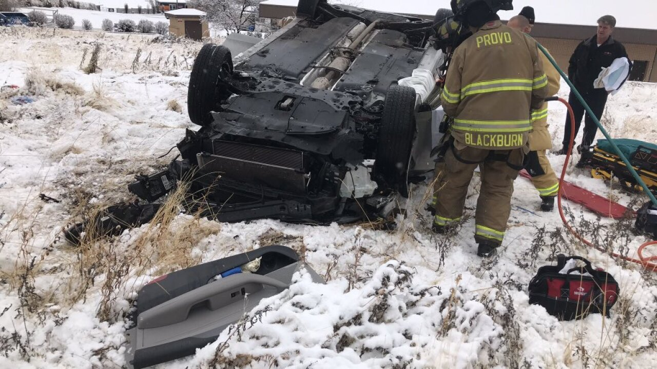 Single vehicle rollover causes power outage in Provo