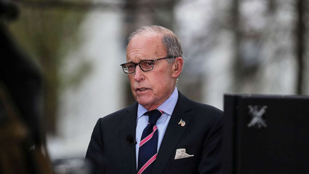 Director of the United States National Economic Council Larry Kudlow participates in a TV interview at the White House, in Washington, March 24, 2020.Director of the United States National Economic Council Larry Kudlow participates in a TV interview at the White House, in Washington, March 24, 2020.