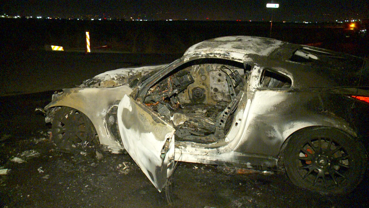 Photos: Police respond as illegal street racing leads to carfire