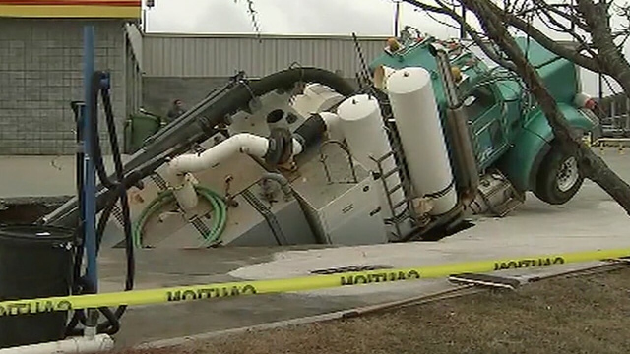 Sinkhole swallows truck weighing 55,000 pounds
