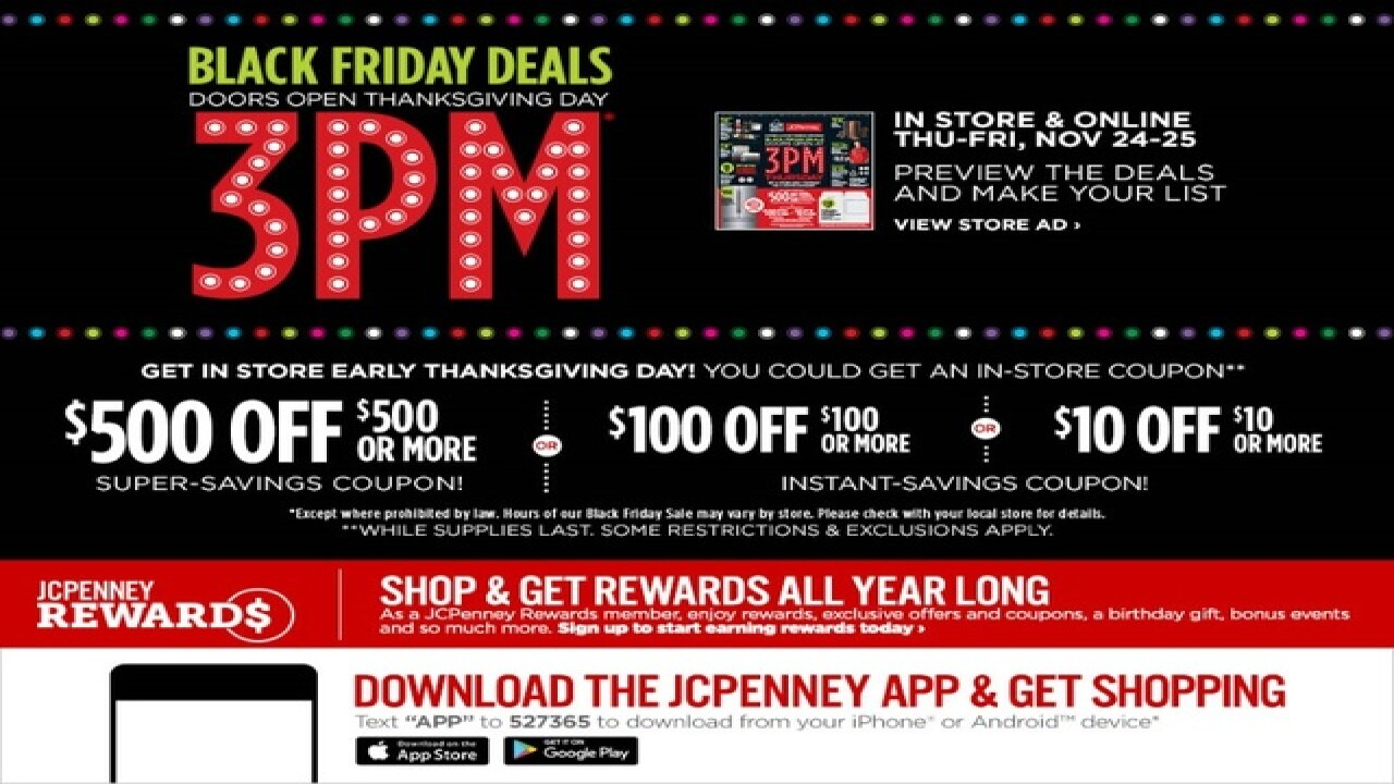 JCPenney enticing Thanksgiving Day shoppers with $500 coupon