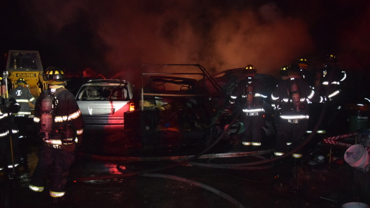 Junkyard cars found engulfed in flames