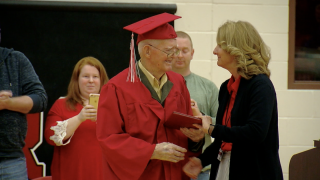 95-year-old World War II veteran receives high school diploma