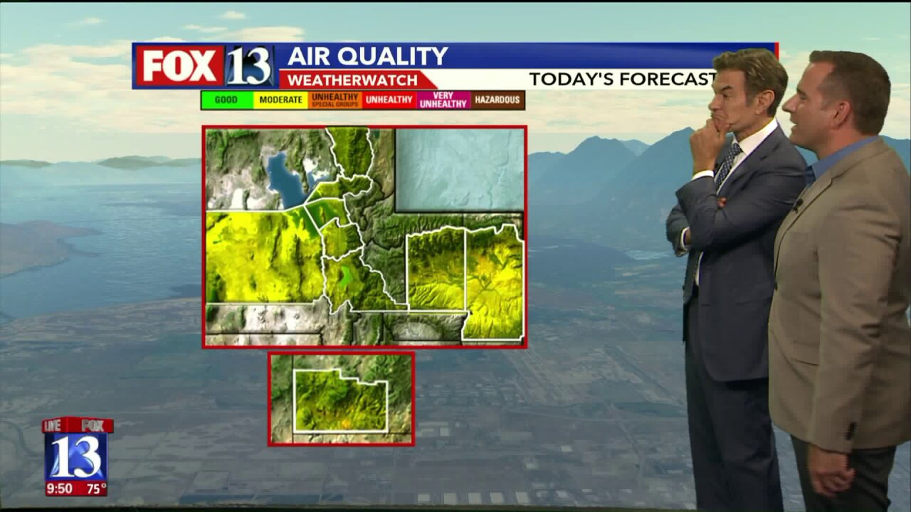 Dr. Oz helps Damon Yauney do the Friday morning weather; both make fun of each other's lastnames