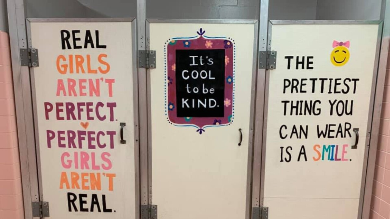Polk County students decorate bathrooms with positive messages