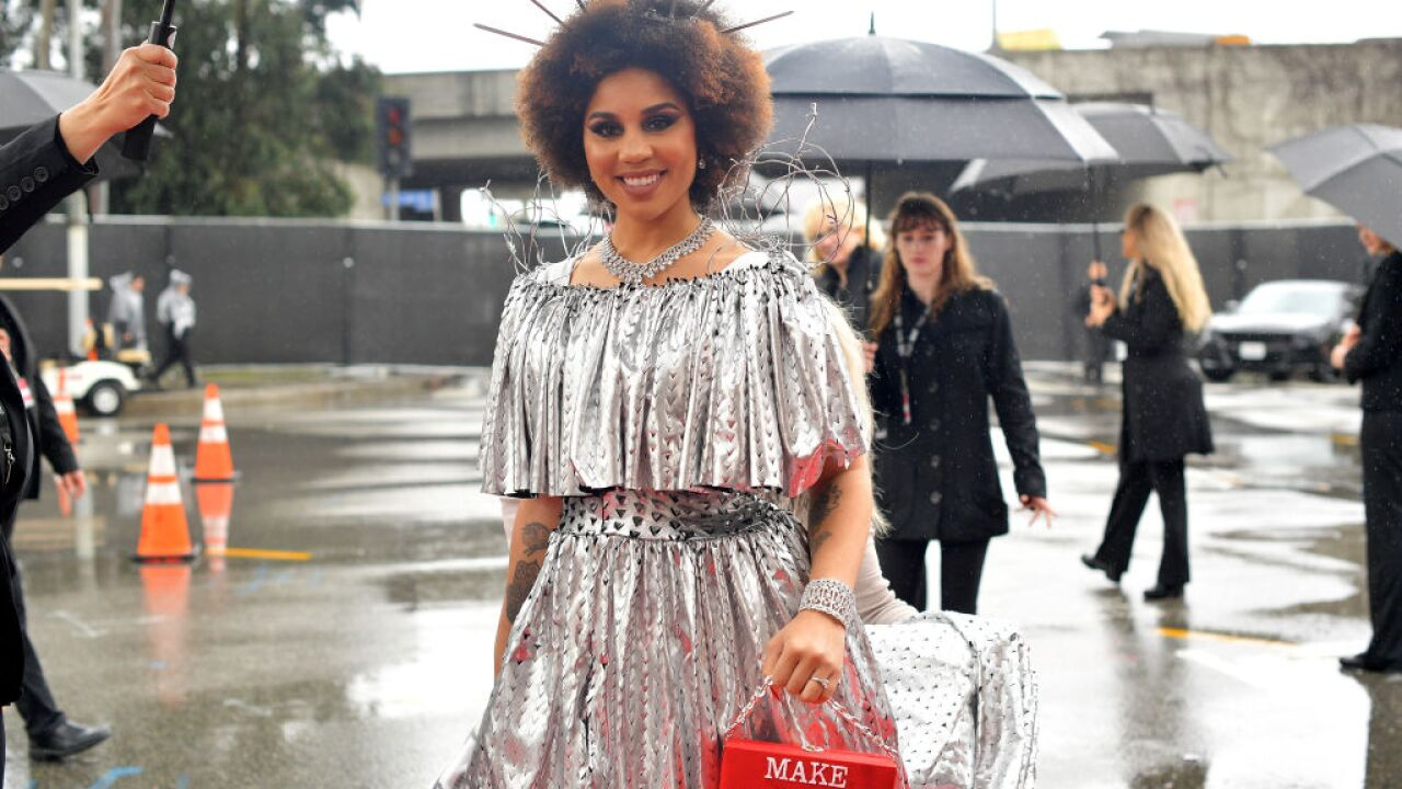 A Grammys moment you may have missed: Singer Joy Villa showed up in a 'Build the Wall' dress