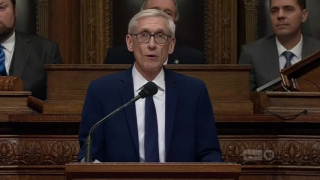Governor Evers in blue suit