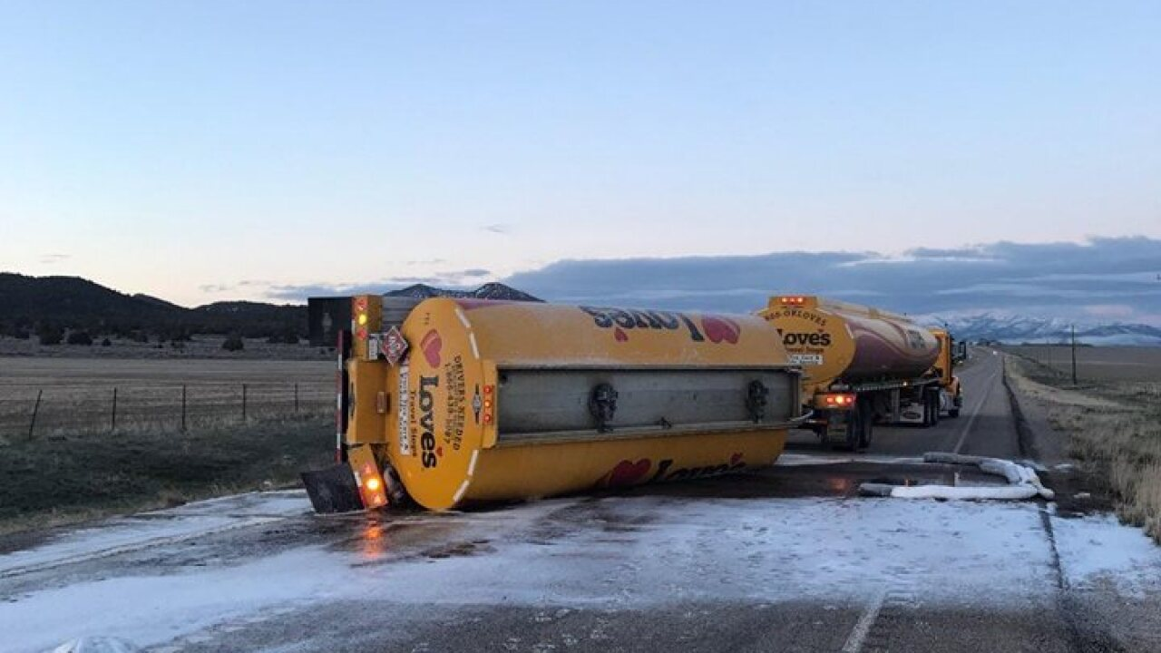 SR-28 near Levan closed after semi pulling gasoline tanks rolls over