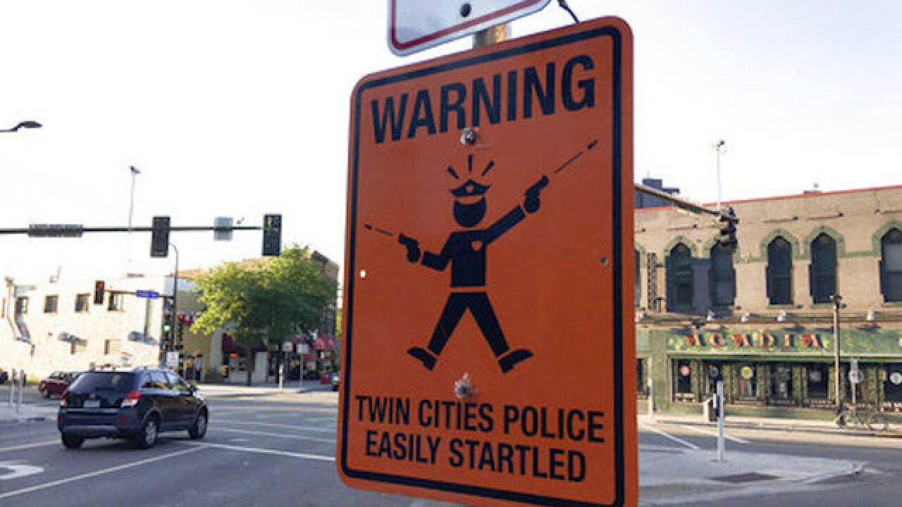 In Minneapolis, fake sign warns of 'easily startled' police