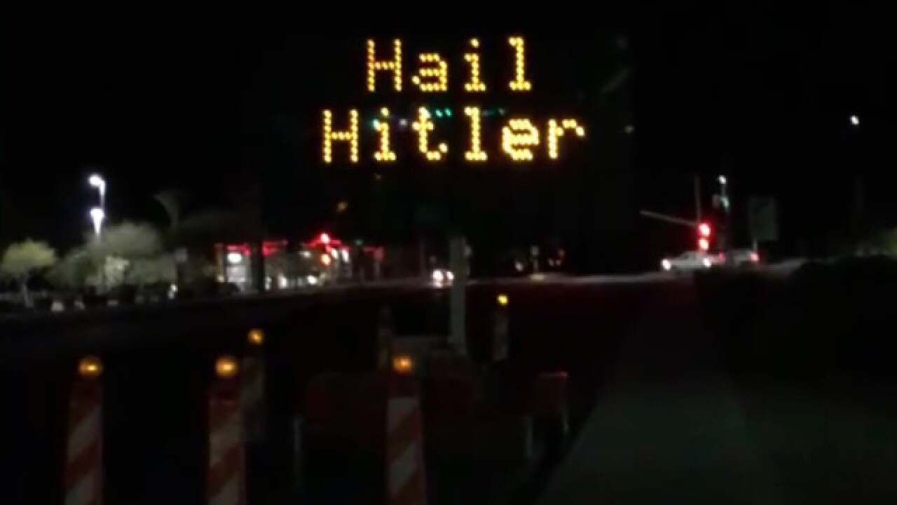 Electronic road sign in Arizona read 'Hail Hitler' on Friday morning